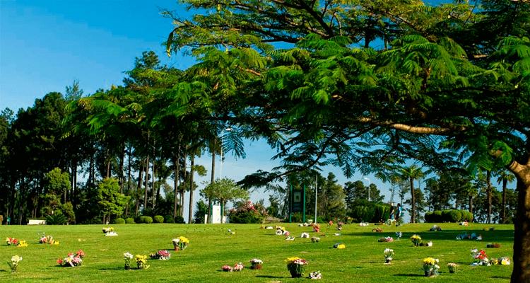 Imagem com campo de lápides e arranjos de flores, cercado por árvores - Cemitério Parque dos Pinheiros